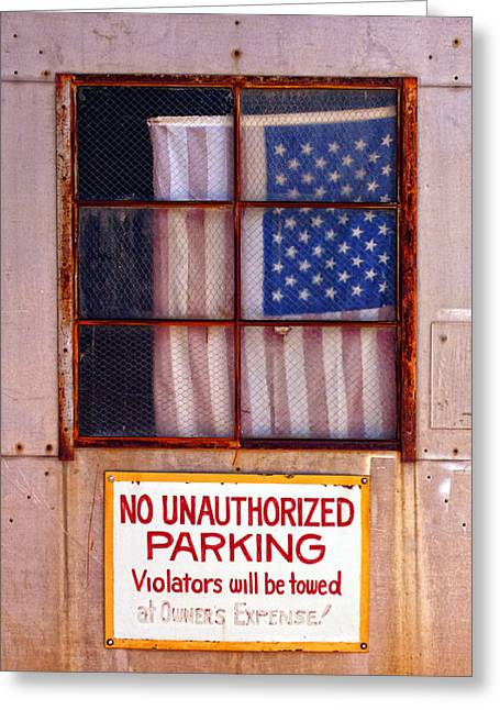 Old Town Digital Art Greeting Cards - No Unauthorized Parking Greeting Card by Ron Regalado