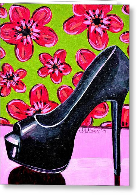High Heels Abstract Art Greeting Cards - No Wall Flower Greeting Card by Jacqueline Kern