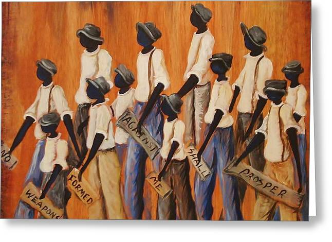 African Heritage Greeting Cards - No Weapons Formed Against Me Greeting Card by Sonja Griffin Evans