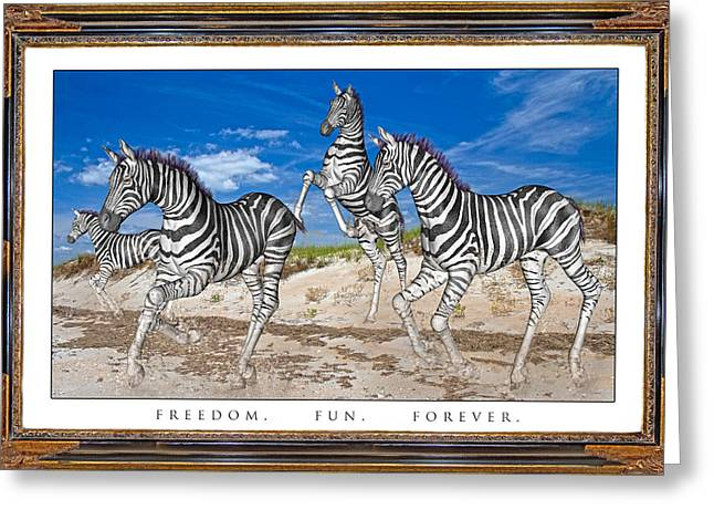 Family Time Greeting Cards - No Zoo Zebras Greeting Card by Betsy A  Cutler