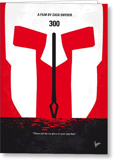 Greece Greeting Cards - No001 My 300 minimal movie poster Greeting Card by Chungkong Art