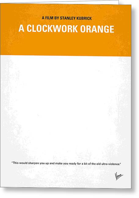 Orange Posters Greeting Cards - No002 My A Clockwork Orange minimal movie poster Greeting Card by Chungkong Art