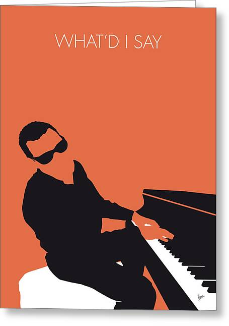 Ray Greeting Cards - No003 MY Ray Charles Minimal Music poster Greeting Card by Chungkong Art
