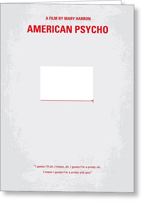 Artwork Greeting Cards - No005 My American Psyhco minimal movie poster Greeting Card by Chungkong Art