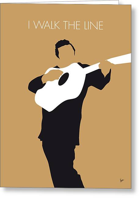 Minimalist Poster Greeting Cards - No010 MY Johnny Cash Minimal Music poster Greeting Card by Chungkong Art