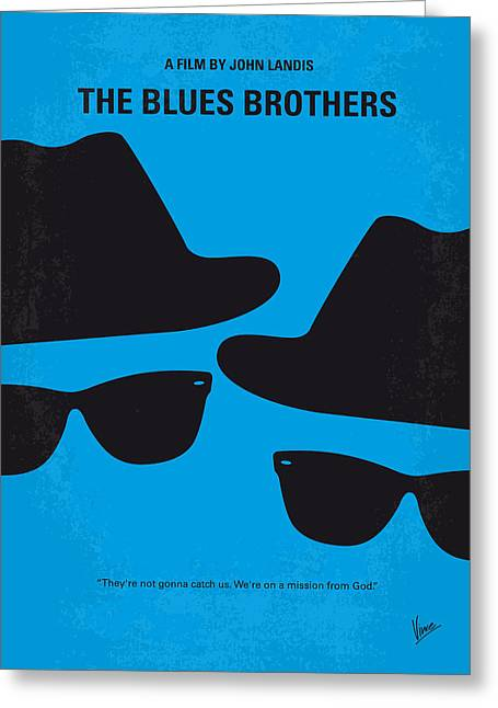 Black Greeting Cards - No012 My blues brother minimal movie poster Greeting Card by Chungkong Art