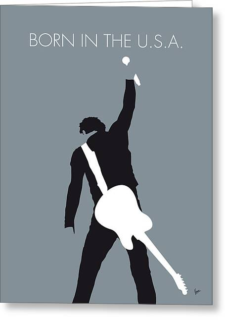 No017 My Bruce Springsteen Minimal Music Poster Greeting Card by Chungkong Art