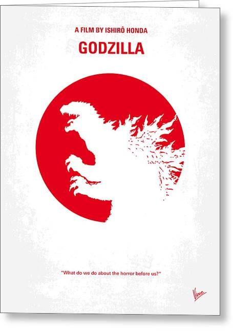 Nuclear Greeting Cards - No029-2 My Godzilla 1954 minimal movie poster.jpg Greeting Card by Chungkong Art