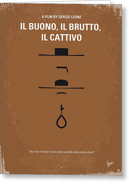 Battle Greeting Cards - No042 My Il buono il brutto il cattivo minimal movie poster Greeting Card by Chungkong Art