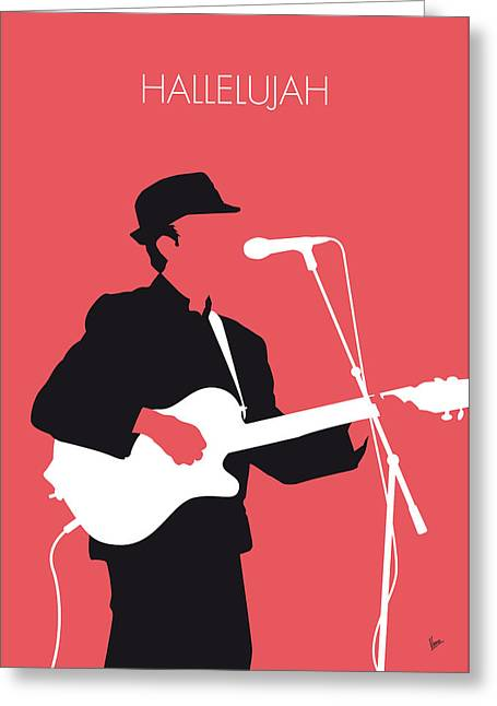 Jeff Digital Art Greeting Cards - No042 MY LEONARD COHEN Minimal Music Greeting Card by Chungkong Art