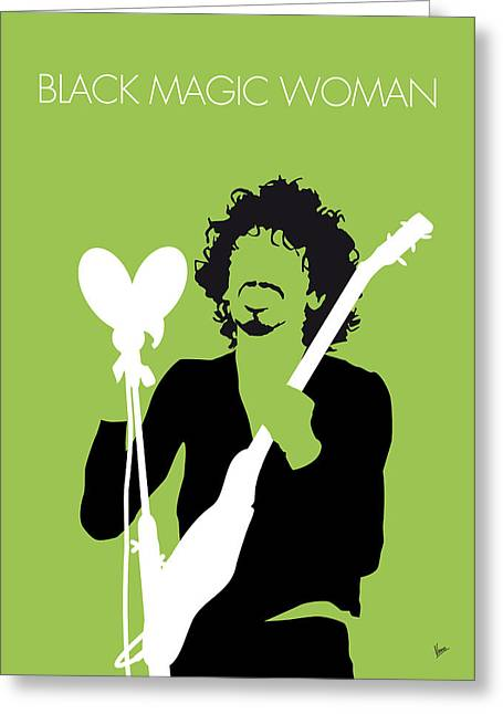 Black Magic Greeting Cards - No046 MY SANTANA Minimal Music poster Greeting Card by Chungkong Art