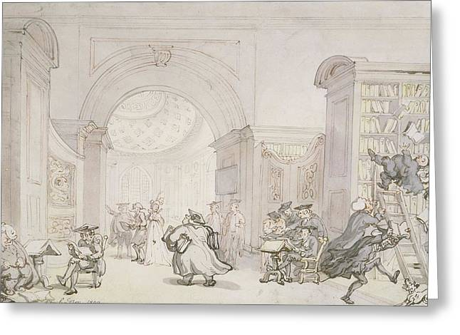 Professor Greeting Cards - No.0613 The West Room And The Dome Room Greeting Card by Thomas Rowlandson