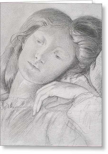 Drawing Greeting Cards - No.0684 Elizabeth Siddal, C.1860 Greeting Card by Dante Gabriel Charles Rossetti