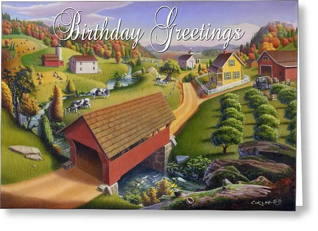 Folk Realism Greeting Cards - no1 Birthday Greetings Greeting Card by Walt Curlee