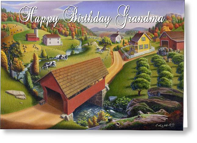 Folk Realism Greeting Cards - no1 Happy Birthday Grandma Greeting Card by Walt Curlee