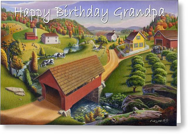Old Grandfather Time Greeting Cards - no1 Happy Birthday Grandpa Greeting Card by Walt Curlee