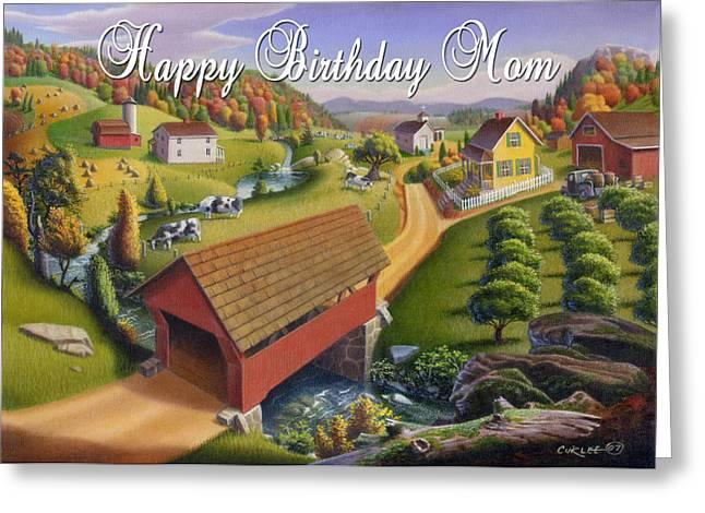Folk Realism Greeting Cards - no1 Happy Birthday Mom Greeting Card by Walt Curlee