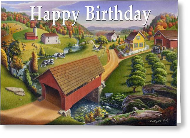 Folk Realism Greeting Cards - no1 Happy Birthday Greeting Card by Walt Curlee