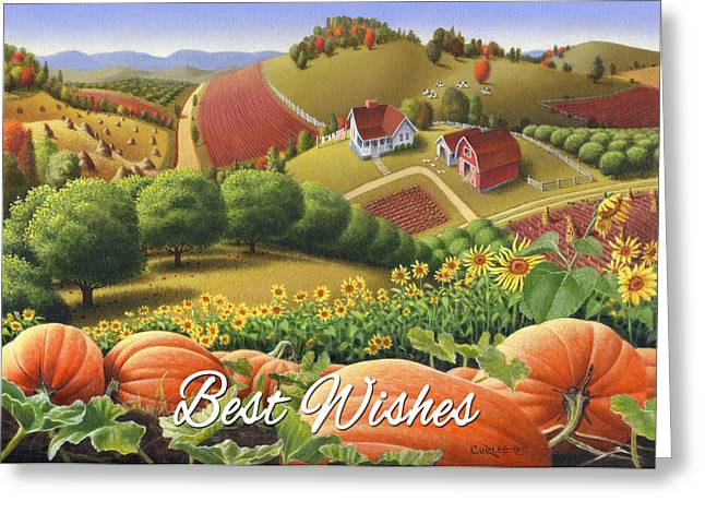 Sunflower Patch Greeting Cards - No10 Best Wishes greeting card  Greeting Card by Walt Curlee