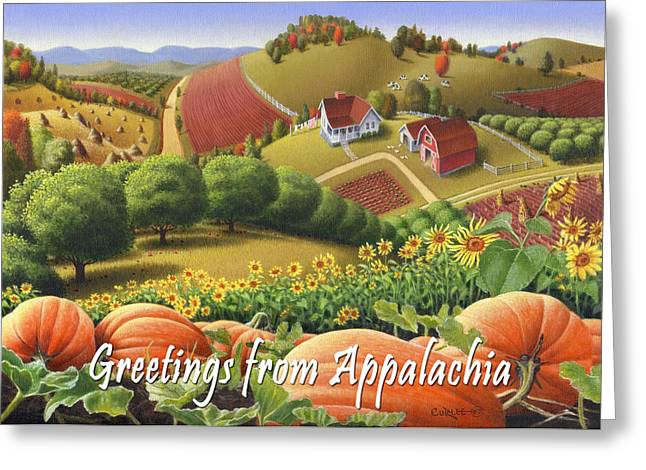Amish Family Greeting Cards - No10 Greetings from Appalachia greeting card Greeting Card by Walt Curlee