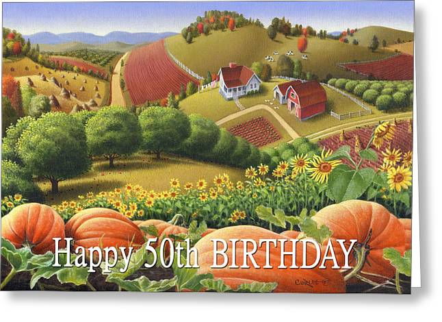 Sunflower Patch Greeting Cards - No10 Happy 50th Birthday greeting card  Greeting Card by Walt Curlee