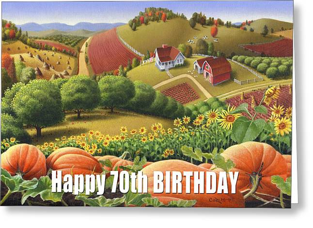 Sunflower Patch Greeting Cards - No10 Happy 70th Birthday greeting card  Greeting Card by Walt Curlee