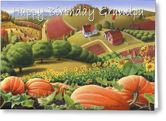 Sunflower Patch Greeting Cards - no10 Happy Birthday Grandpa  Greeting Card by Walt Curlee