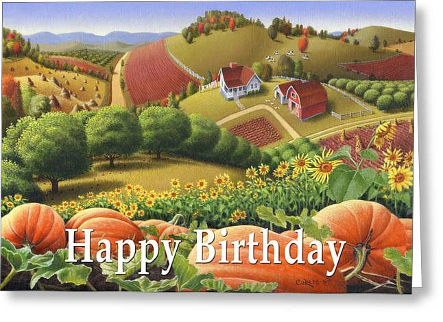 Sunflower Patch Greeting Cards - no10 Happy Birthday Greeting Card by Walt Curlee