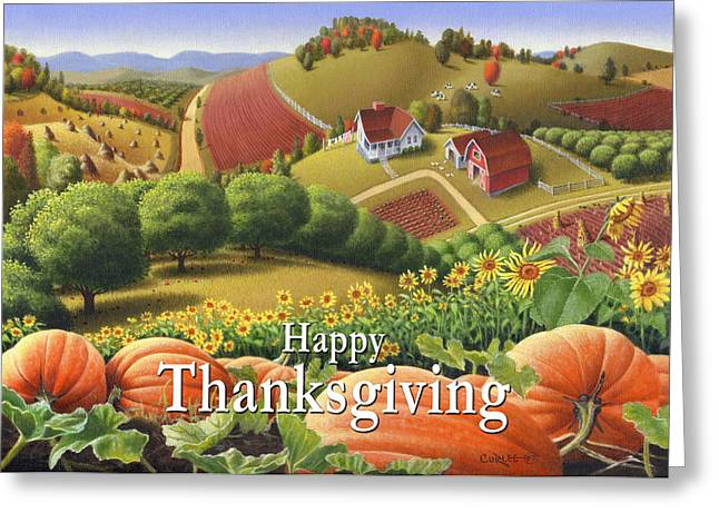 Sunflower Patch Greeting Cards - no10 Happy Thanksgiving Greeting Card by Walt Curlee