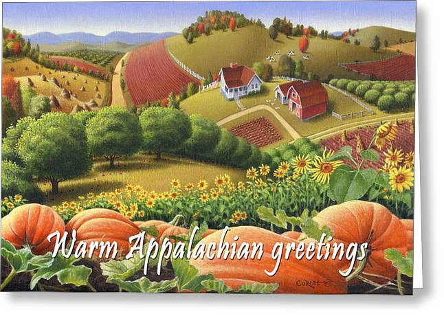 Sunflower Patch Greeting Cards - No10 Warm Appalachian Greetings greeting card  Greeting Card by Walt Curlee