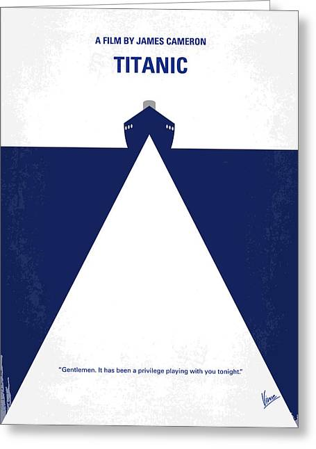 Ship Digital Art Greeting Cards - No100 My Titanic minimal movie poster Greeting Card by Chungkong Art