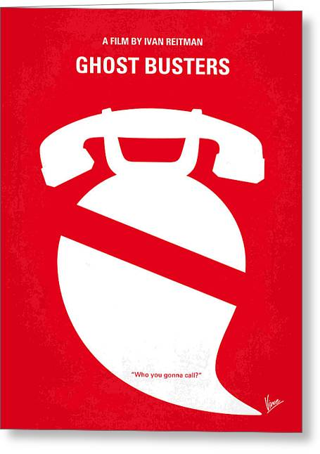 Haunted Digital Art Greeting Cards - No104 My Ghostbusters minimal movie poster Greeting Card by Chungkong Art