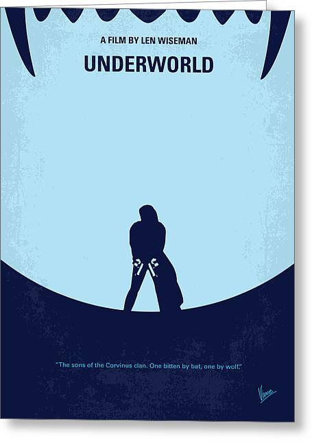 Actions Greeting Cards - No122 My UNDERWORLD minimal movie Greeting Card by Chungkong Art
