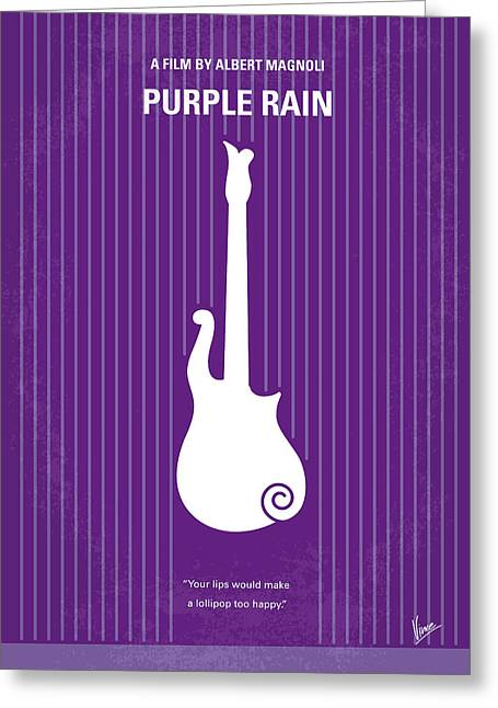 No124 My Purple Rain Minimal Movie Poster Greeting Card by Chungkong Art