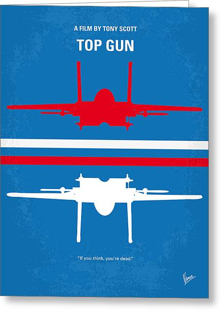 Retro Art Greeting Cards - No128 My TOP GUN minimal movie poster Greeting Card by Chungkong Art