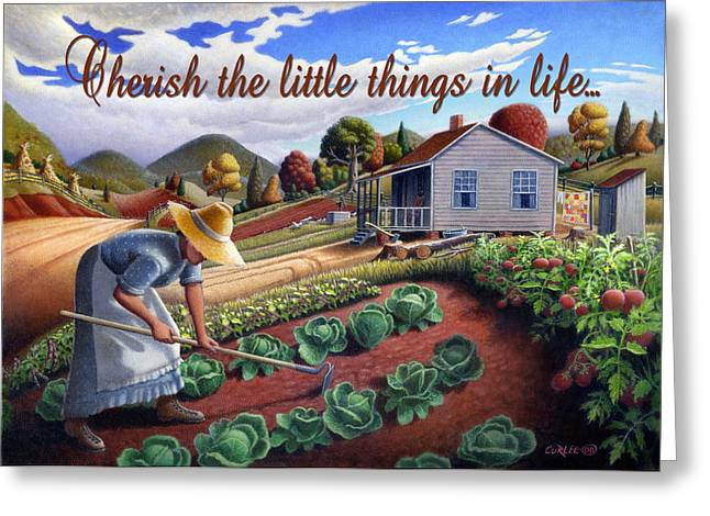 Amish Family Paintings Greeting Cards - no13A Cherish the little things in life Greeting Card by Walt Curlee