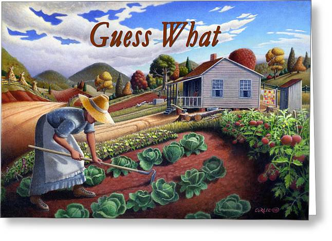 Amish Family Paintings Greeting Cards - no13A Guess What Greeting Card by Walt Curlee