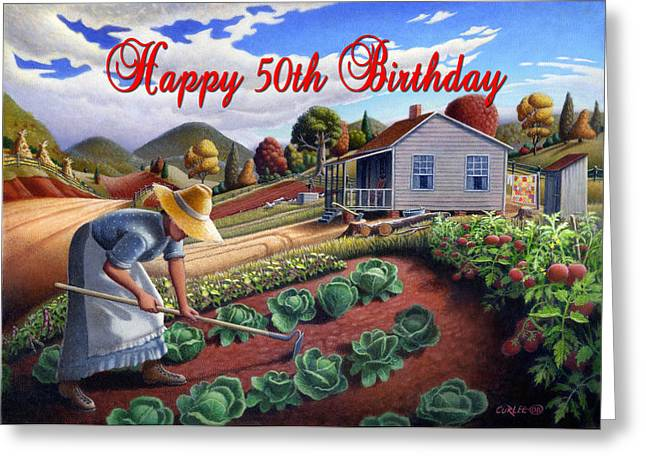 Amish Family Paintings Greeting Cards - no13A Happy 50th Birthday Greeting Card by Walt Curlee