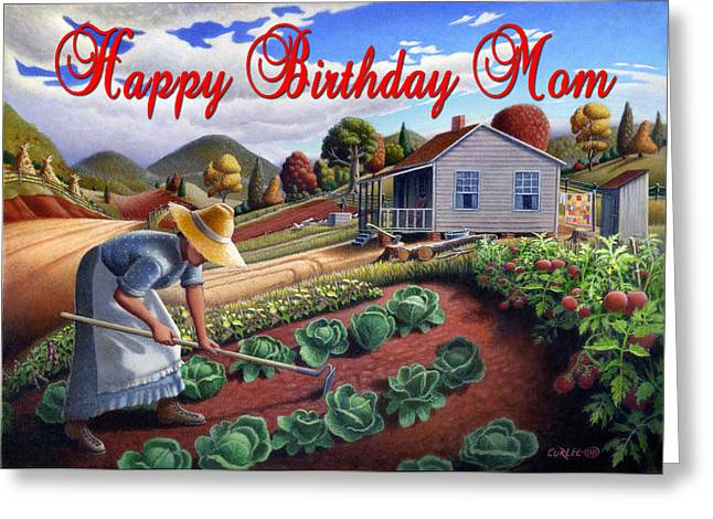 Amish Family Paintings Greeting Cards - no13A Happy Birthday Mom Greeting Card by Walt Curlee