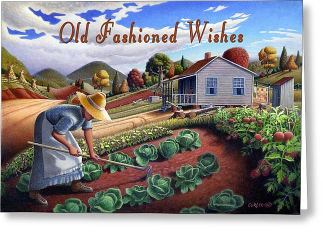 Amish Family Paintings Greeting Cards - no13A Old Fashioned Wishes Greeting Card by Walt Curlee