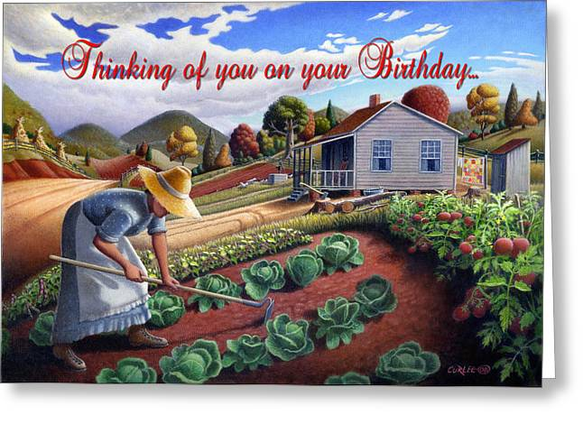 Amish Family Paintings Greeting Cards - no13A Thinking of you on your Birthday Greeting Card by Walt Curlee