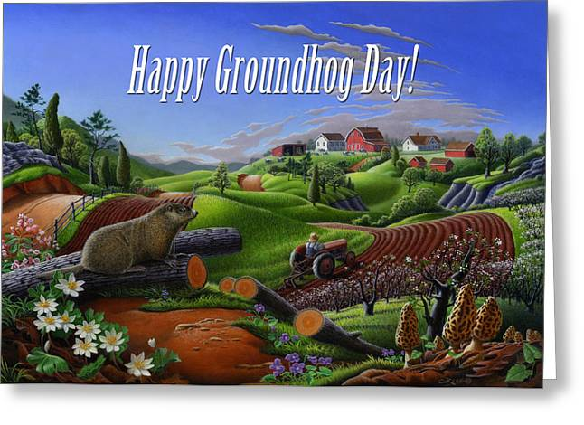 no14 Happy Groundhog Day 5x7 greeting card  Greeting Card by Walt Curlee