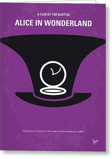 Johnny Depp Poster Greeting Cards - No140 My Alice in Wonderland minimal movie poster Greeting Card by Chungkong Art