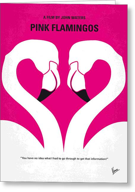 Pink Prints Greeting Cards - No142 My PINK FLAMINGOS minimal movie poster Greeting Card by Chungkong Art