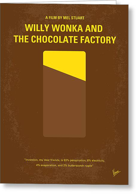 Roald Dahl Greeting Cards - No149 My willy wonka and the chocolate factory minimal movie poster Greeting Card by Chungkong Art