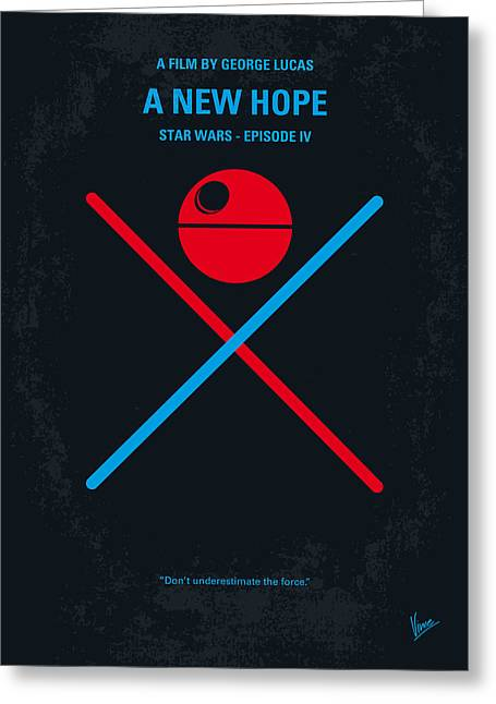 Star Greeting Cards - No154 My STAR WARS Episode IV A New Hope minimal movie poster Greeting Card by Chungkong Art