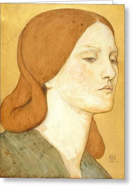 Pre-raphaelites Greeting Cards - No.1575 Head Of A Girl In A Green Dress Greeting Card by Dante Gabriel Charles Rossetti