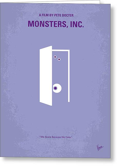 Funny Greeting Cards - No161 My Monster Inc minimal movie poster Greeting Card by Chungkong Art