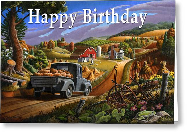 Fall Scenes Greeting Cards - no17 Happy Birthday Greeting Card by Walt Curlee
