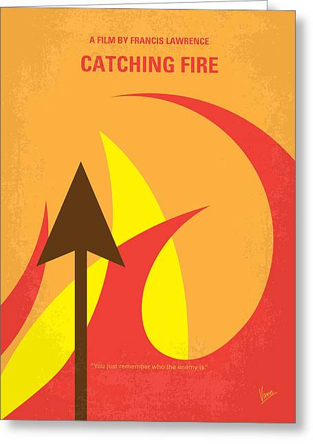 Victor Greeting Cards - No175-2 My CATCHING FIRE - The Hunger Games minimal movie poster Greeting Card by Chungkong Art